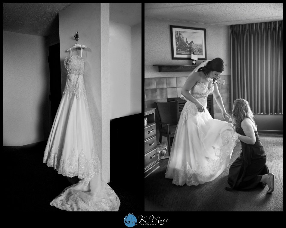 reading pa wedding photographer - berks county wedding photographer - wedding photography in berks county - capriottis mcadoo wedding photographer - strapless wedding dress- black and white wedding photo - bride getting into dress