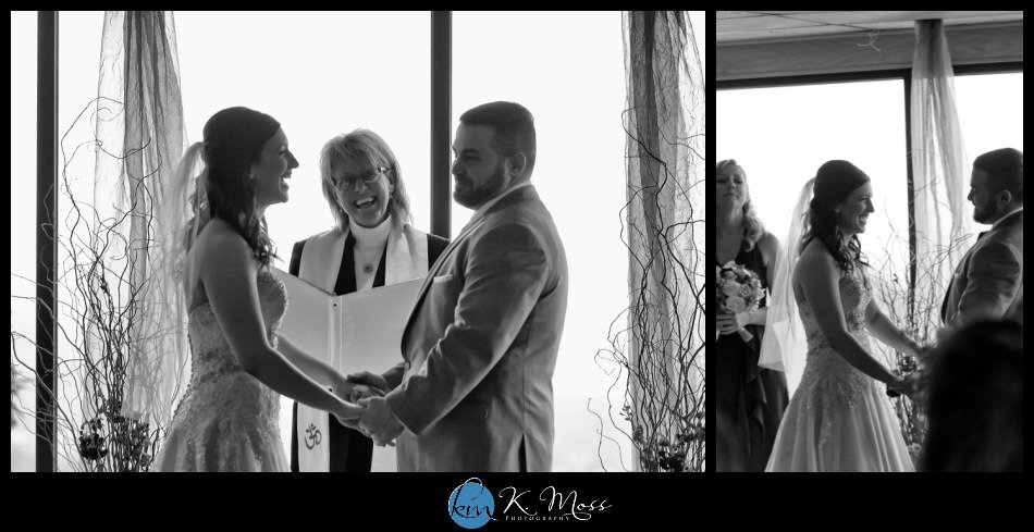 grace taylor officiant - reading pa wedding photographer - berks county wedding photographer - wedding photography in berks county - capriottis mcadoo wedding photographer - bride and groom first look - bride and groom winter photos - wedding photos in snow - wedding ceremony indoors - black and white wedding
