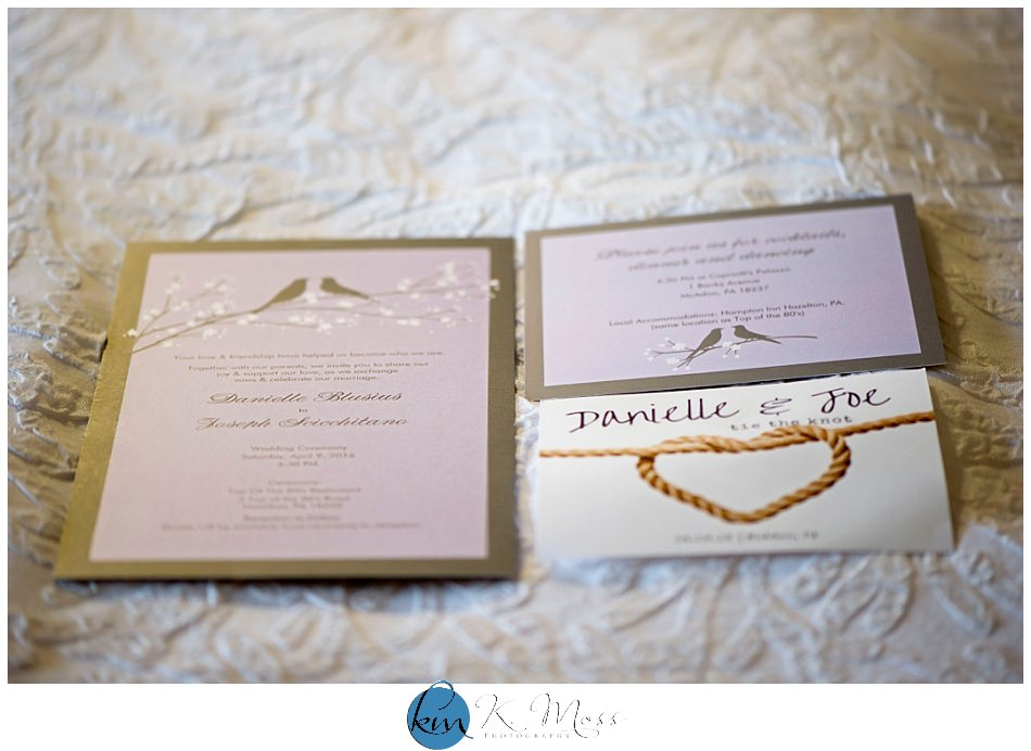 Champagne and pink wedding invitation and tie the knot save the date | K. Moss Photography