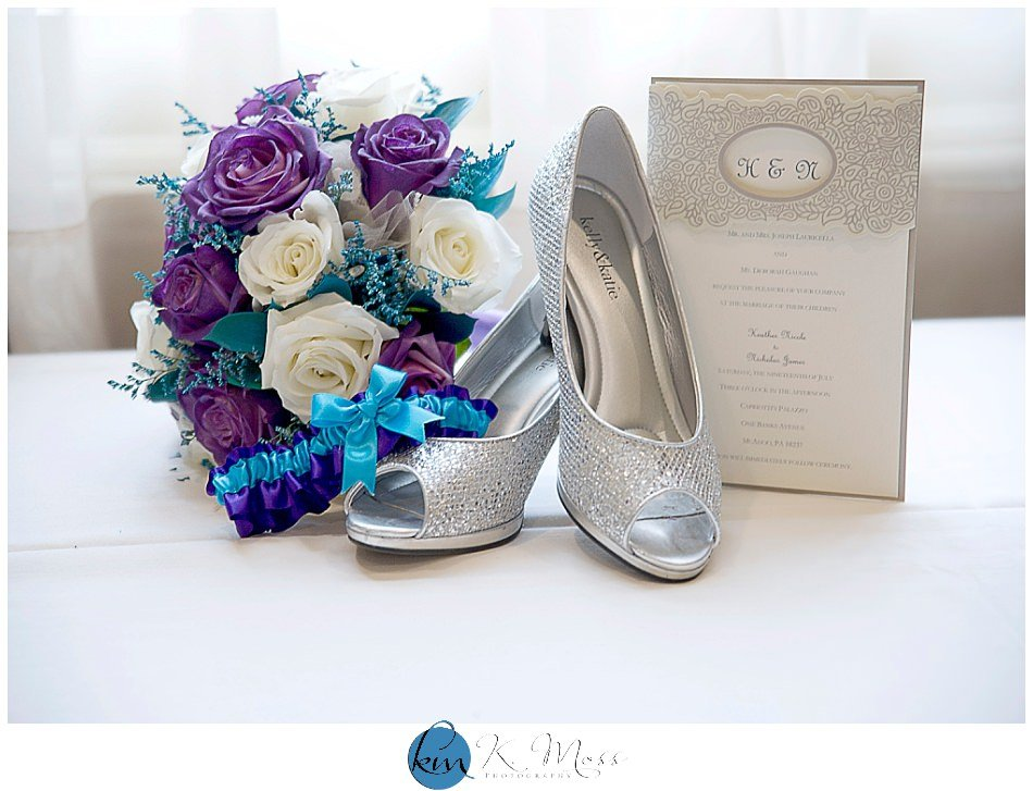 purple and white bride bouquet - champagne wedding invitation - purple and teal garter