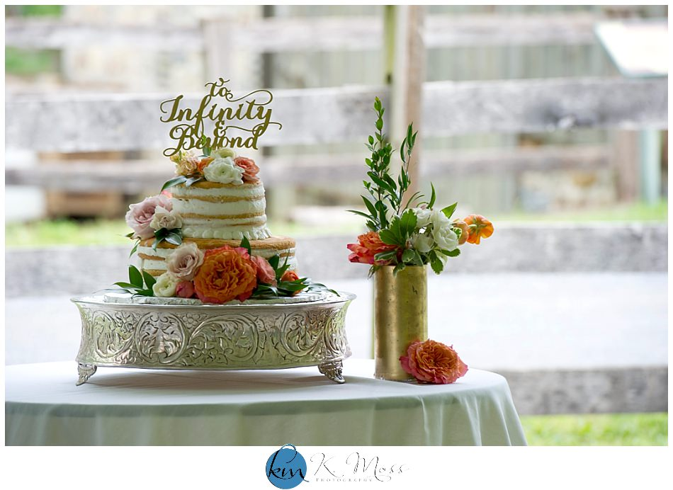 naked wedding cake - orange wedding flowers | K. Moss Photography