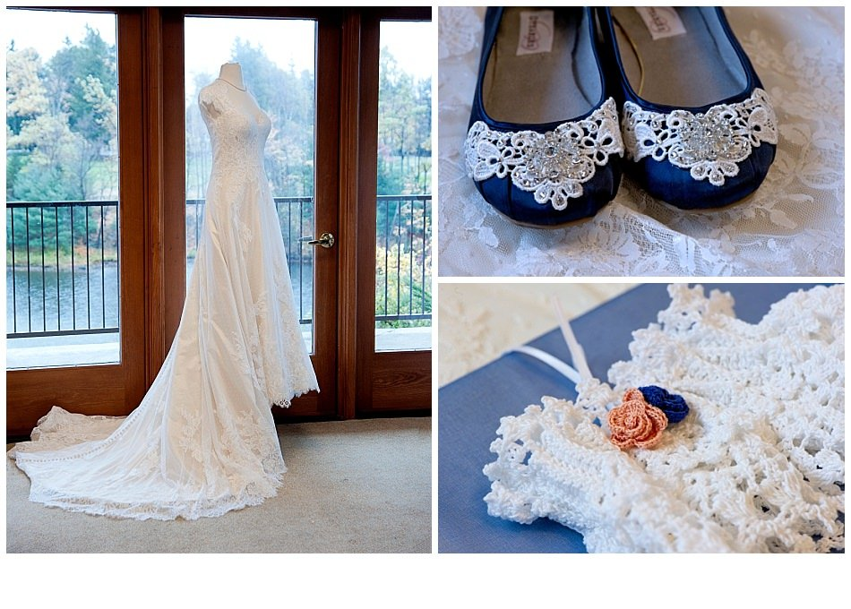 Lace vintage wedding gown with blue lace shoes and crochet garter | K. Moss Photography