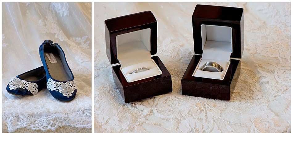 Blue lace wedding shoes Bride and groom wedding rings | K. Moss Photography