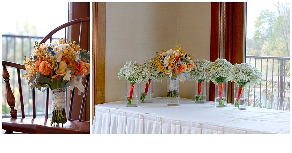 Ivory hydrangea, orange dahlias, blue thistle, champagne garden roses, orange orchids, dusty miller and silver baronia wedding bouquet | K. Moss Photography