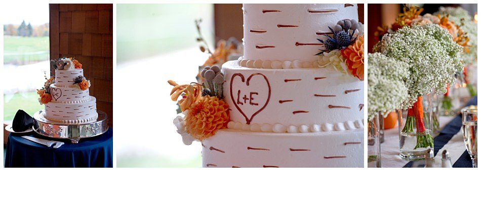 Three tier monogram wedding cake vintage wedding gown - bride and groom outdoor photos - fall wedding | K. Moss Photography