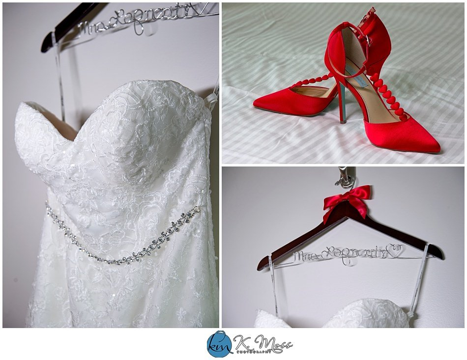 Christina's Bridal-Red wedding shoes - custom wedding hanger red wedding shoes - bride and groom rings - Berks County Wedding Photographer | K. Moss Photography