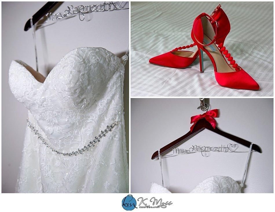 Christina's Bridal-Red wedding shoes - custom wedding hanger red wedding shoes - bride and groom rings - Berks County Wedding Photographer | K. Moss Photography