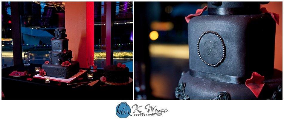 piece 'a cake llc - Red and black wedding theme - pink uplighting - Steelstacks Bethlehem wedding | K. Moss Photography