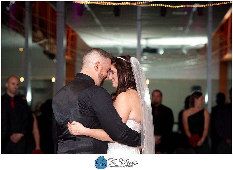 bride and groom first dance - wedding reception toasts and speeches - berks county wedding photographer - Steelstacks Bethlehem wedding | K. Moss Photography