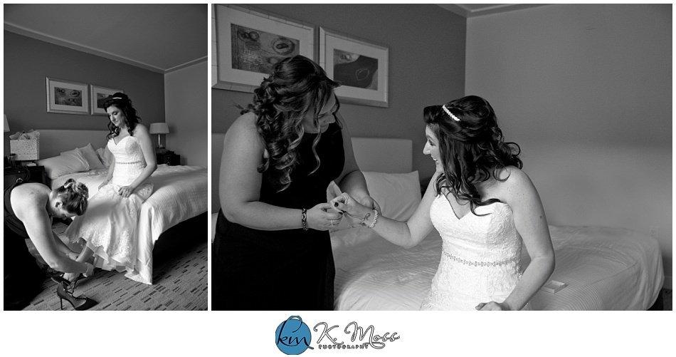 Christina's Bridal-berks county wedding photographer - bride and maid of honor getting ready - Steelstacks Bethlehem wedding | K. Moss Photography