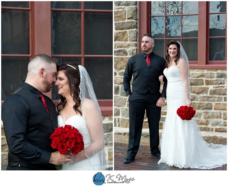 bride and groom formal photos - outdoor photos of wedding couple - - Steelstacks Bethlehem wedding | K. Moss Photography