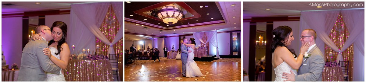 Bride and groom first dance with Purple Uplighting | K. Moss Photography